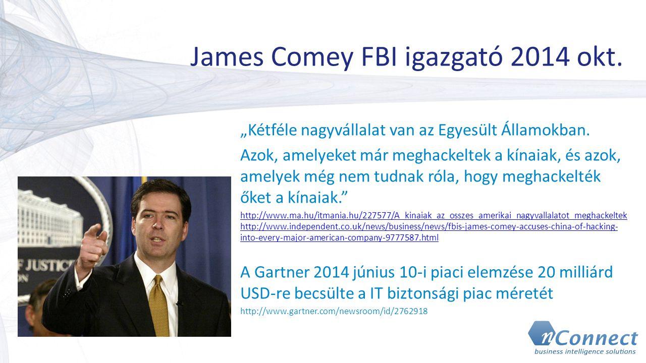 """James Comey FBI igazgató 2014 okt. """"Kétféle nagyvállalat van az Egyesült Államokban. Azok, amelyeket már meghackeltek a kínaiak, és azok, amelyek még"""