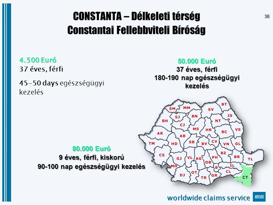 worldwide claims service 36 CONSTANTA – Délkeleti térség Constantai Fellebbviteli Bíróság 4.500 Euró 37 éves, férfi 45-50 days egészségügyi kezelés 80.000 Euró 9 éves, férfi, kiskorú 90-100 nap egészségügyi kezelés 50.000 Euró 37 éves, férfi 180-190 nap egészségügyi kezelés