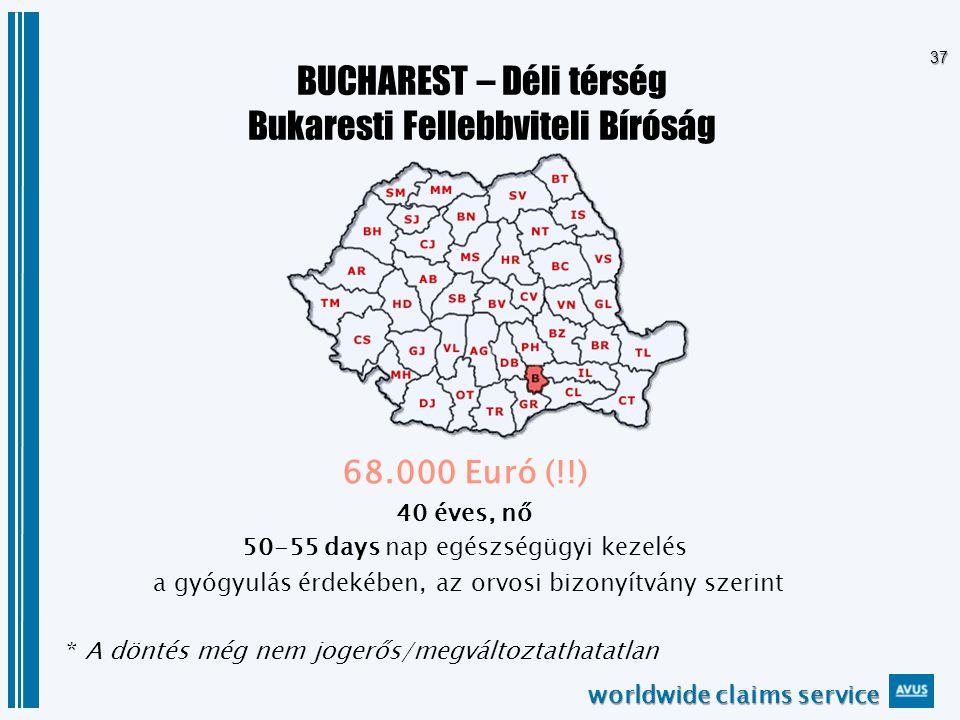 worldwide claims service 37 BUCHAREST – Déli térség Bukaresti Fellebbviteli Bíróság 68.000 Euró (!!) 40 éves, nő 50-55 days nap egészségügyi kezelés a gyógyulás érdekében, az orvosi bizonyítvány szerint * A döntés még nem jogerős/megváltoztathatatlan