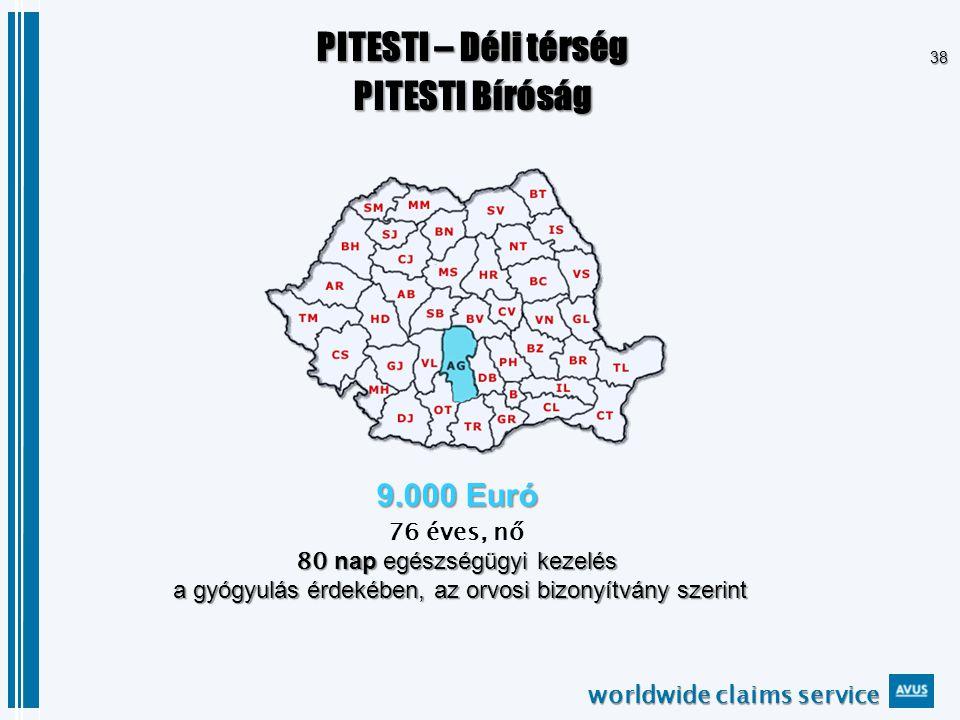 worldwide claims service 38 PITESTI – Déli térség PITESTI Bíróság 9.000 Euró 76 éves, nő 80 nap egészségügyi kezelés a gyógyulás érdekében, az orvosi bizonyítvány szerint a gyógyulás érdekében, az orvosi bizonyítvány szerint