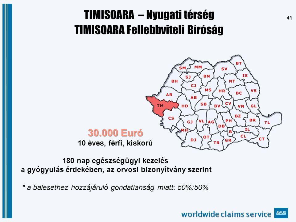 worldwide claims service 41 TIMISOARA – Nyugati térség TIMISOARA Fellebbviteli Bíróság 30.000 Euró 30.000 Euró 10 éves, férfi, kiskorú 180 nap egészségügyi kezelés a gyógyulás érdekében, az orvosi bizonyítvány szerint * a balesethez hozzájáruló gondatlanság miatt: 50%:50%