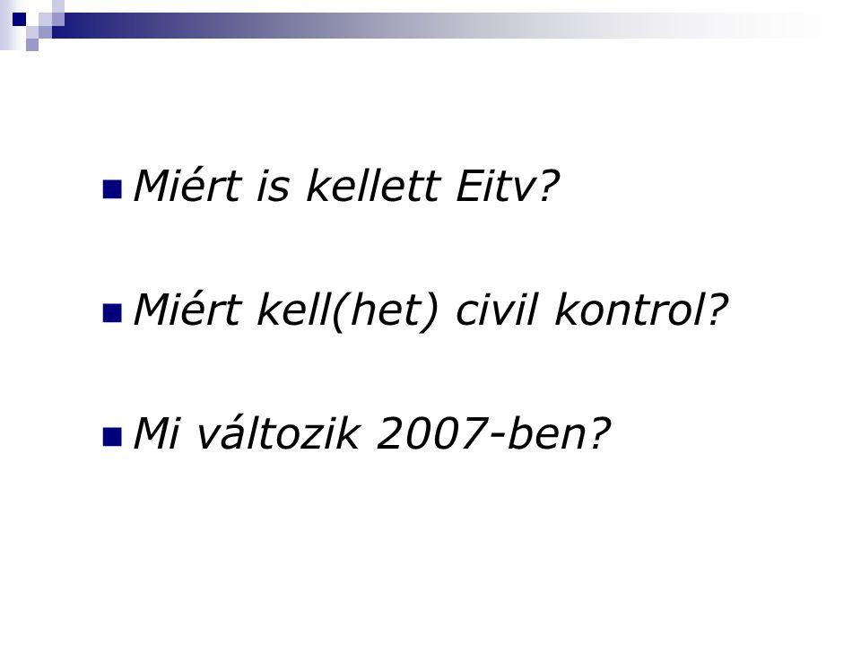 Miért is kellett Eitv Miért kell(het) civil kontrol Mi változik 2007-ben