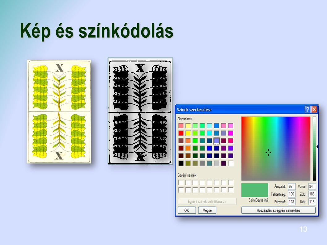 Színmélység:2 színű(1 bitet, 2^1) 14