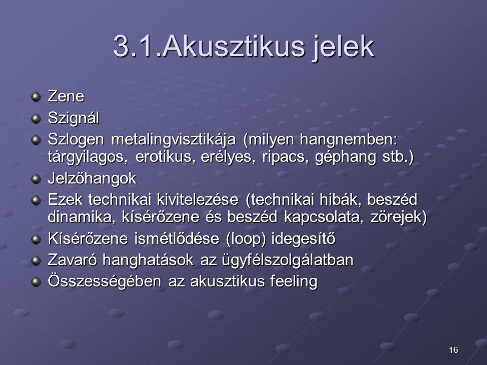 16 3.1.Akusztikus jelek ZeneSzignál Szlogen metalingvisztikája (milyen hangnemben: tárgyilagos, erotikus, erélyes, ripacs, géphang stb.) Jelzőhangok E