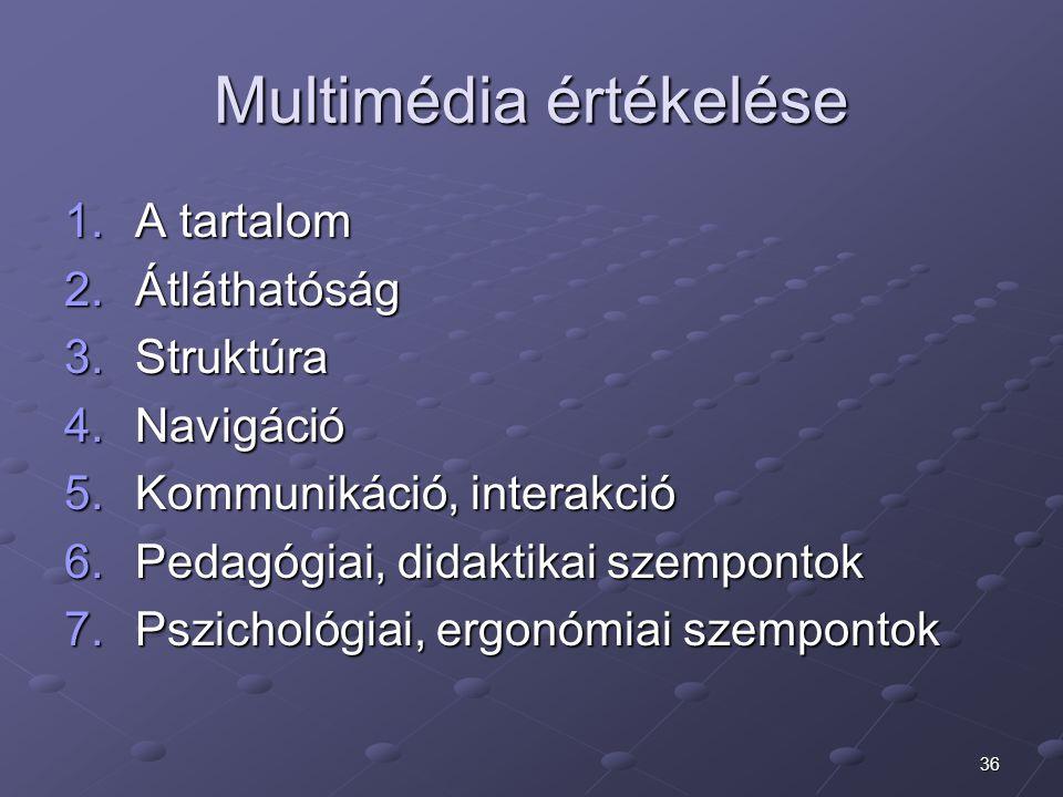 36 Multimédia értékelése 1.A tartalom 2.Átláthatóság 3.Struktúra 4.Navigáció 5.Kommunikáció, interakció 6.Pedagógiai, didaktikai szempontok 7.Pszichol