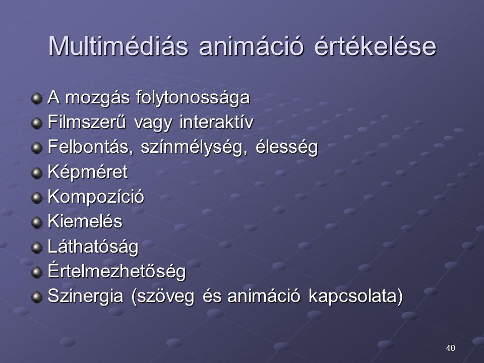 40 Multimédiás animáció értékelése A mozgás folytonossága Filmszerű vagy interaktív Felbontás, színmélység, élesség KépméretKompozícióKiemelésLáthatós