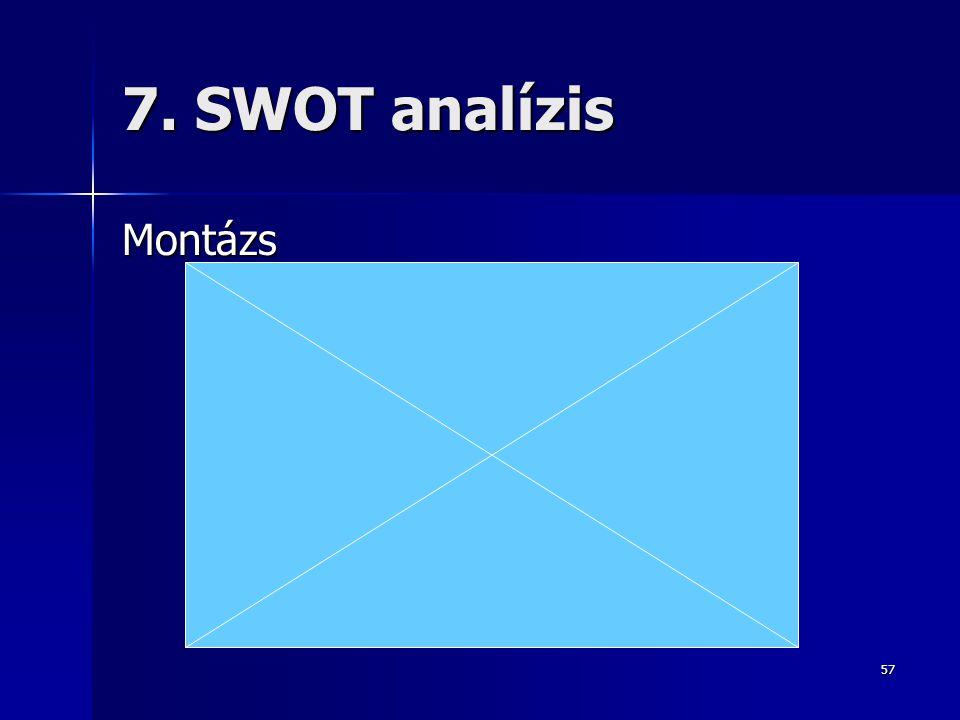 57 7. SWOT analízis Montázs