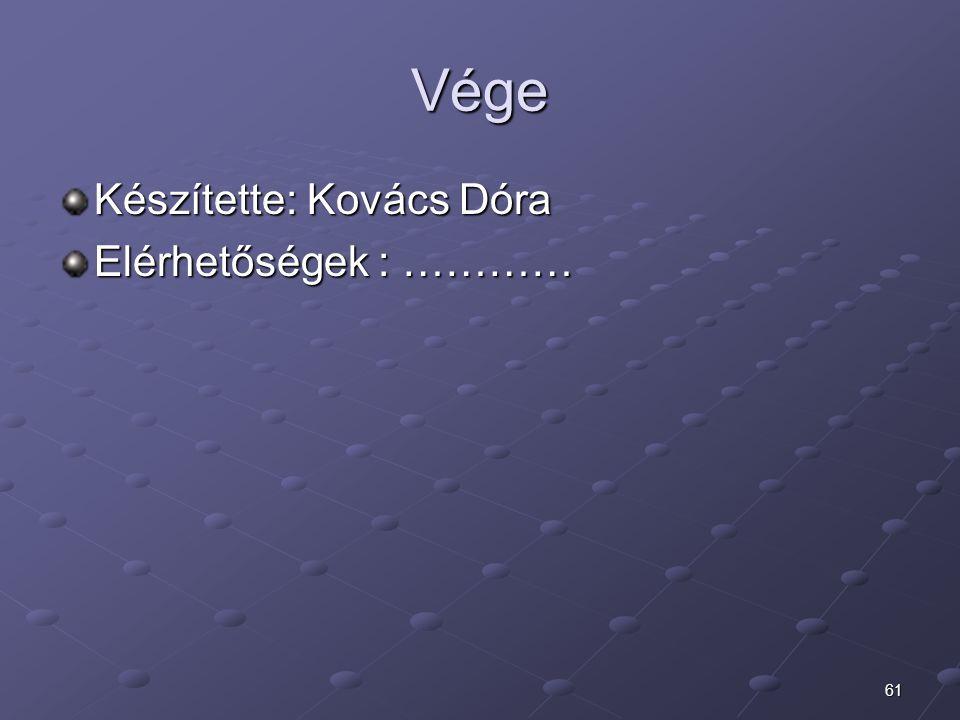 61 Vége Készítette: Kovács Dóra Elérhetőségek : …………