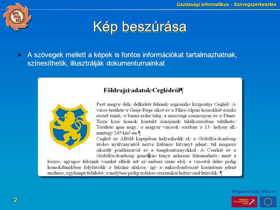 Gazdasági informatikus - Szövegszerkesztés 2 Kép beszúrása  A szövegek mellett a képek is fontos információkat tartalmazhatnak, színesíthetik, illusz