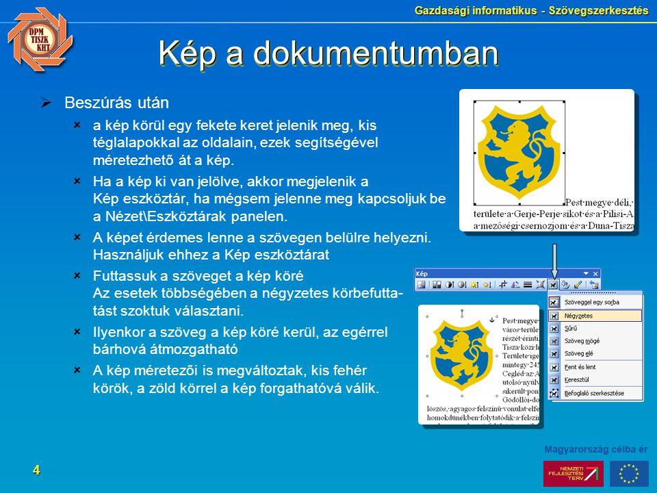 Gazdasági informatikus - Szövegszerkesztés 15 SzövegdobozSzövegdoboz  Szöveget tartalmazó ablak, a grafikai elemek néhány tulajdonságával rendelkezik  Kitöltőszín, keretezés színe, vonalának jellemzői  A környezetétől függetlenül formázható  A lapon bárhol elhelyezhető  Jól használható ábrák feliratozására  Létrehozás  Rajz eszköztár Szövegdoboz ikon  Beszúrás\Szövegdoboz  Formázás  Itt is meg kell adni, hogy milyen legyen a doboz és a szöveg viszonya Négyzetes körbefuttatás