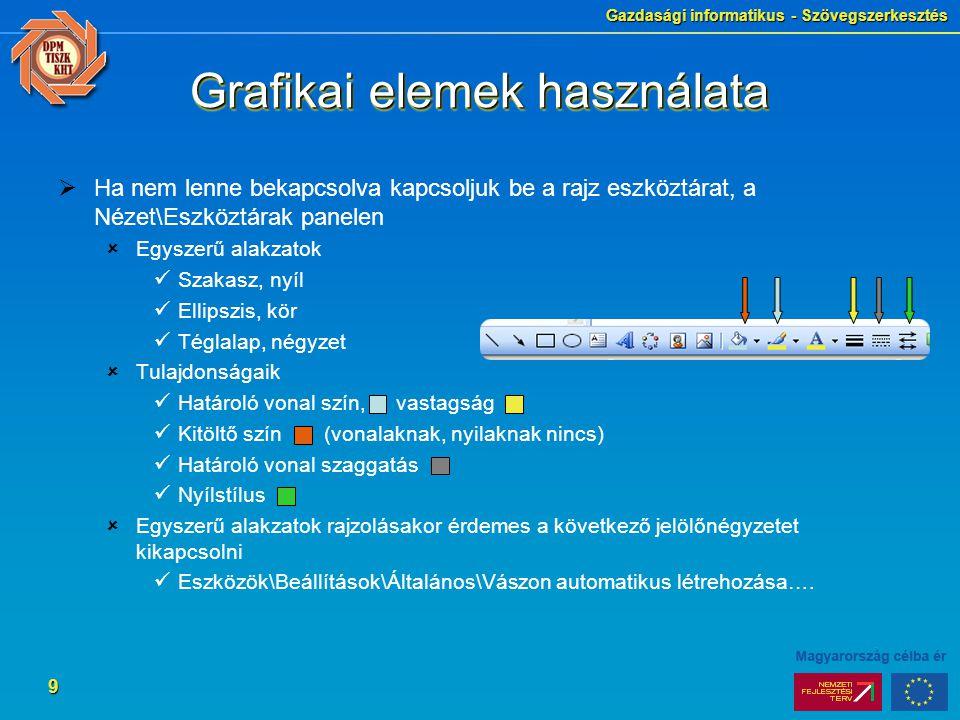Gazdasági informatikus - Szövegszerkesztés 9 Grafikai elemek használata  Ha nem lenne bekapcsolva kapcsoljuk be a rajz eszköztárat, a Nézet\Eszköztár