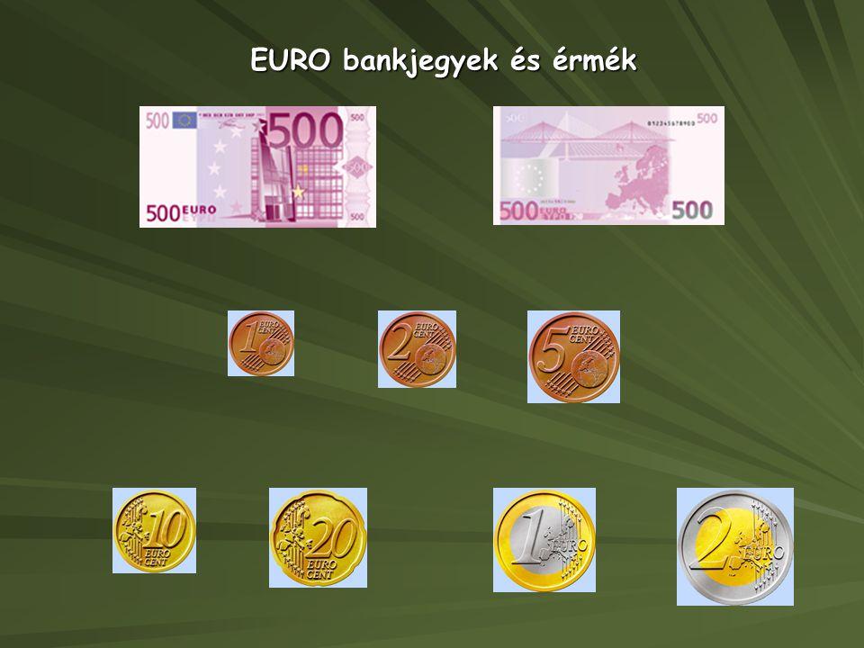 EURO bankjegyek és érmék