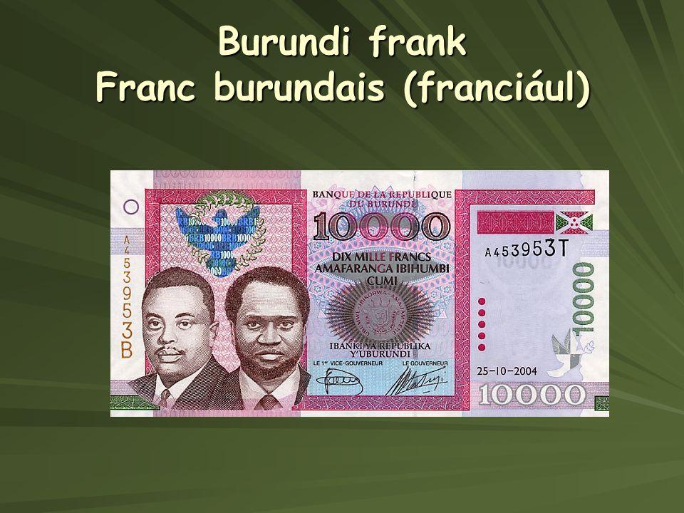 Burundi frank Franc burundais (franciául)