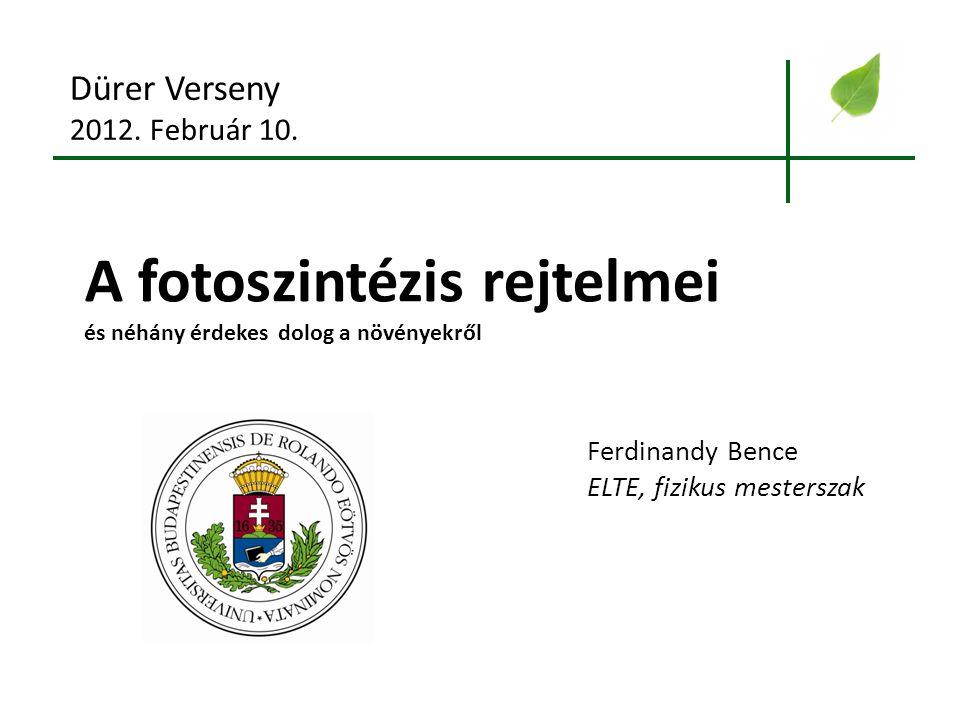 A fotoszintézis rejtelmei és néhány érdekes dolog a növényekről Dürer Verseny 2012. Február 10. Ferdinandy Bence ELTE, fizikus mesterszak