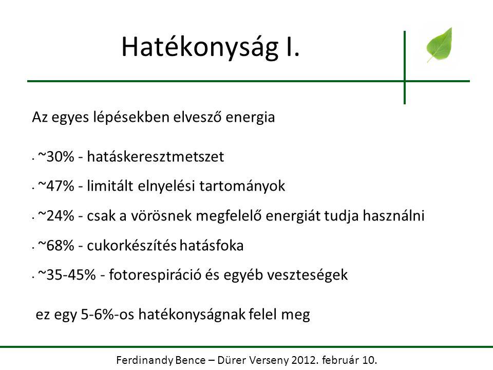 Ferdinandy Bence – Dürer Verseny 2012. február 10. Hatékonyság I. Az egyes lépésekben elvesző energia ~30% - hatáskeresztmetszet ~47% - limitált elnye