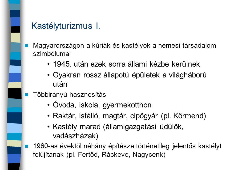 Kastélyturizmus I. Magyarországon a kúriák és kastélyok a nemesi társadalom szimbólumai 1945. után ezek sorra állami kézbe kerülnek Gyakran rossz álla