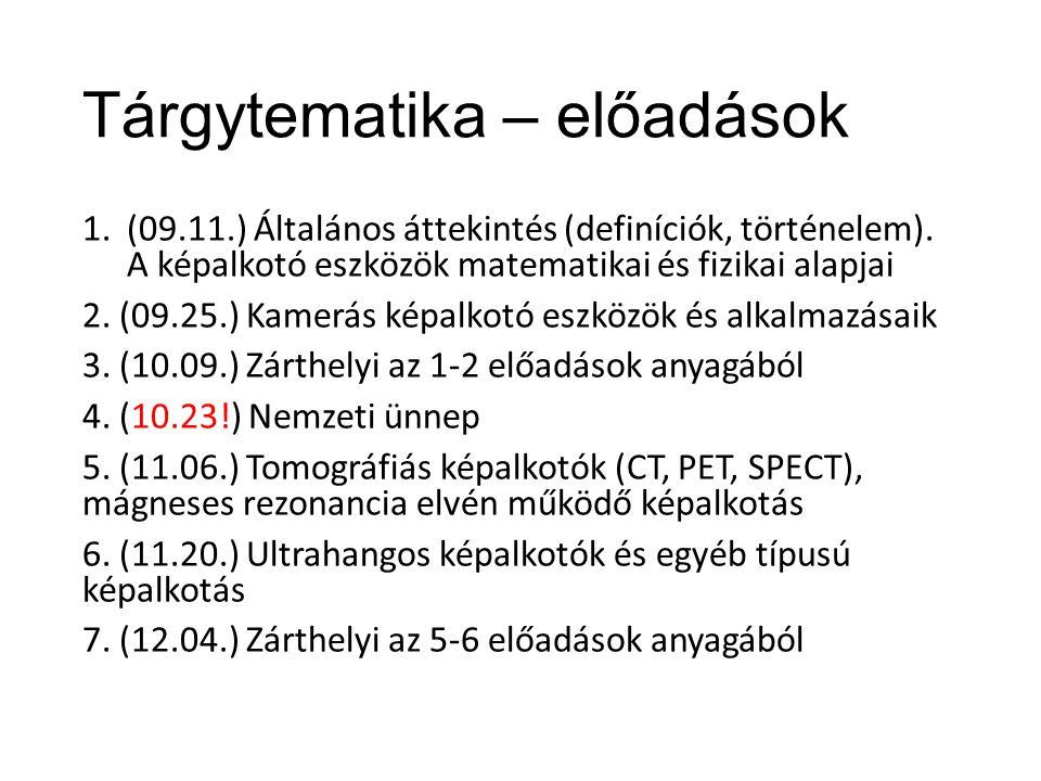 Tárgytematika – előadások 1.(09.11.) Általános áttekintés (definíciók, történelem).