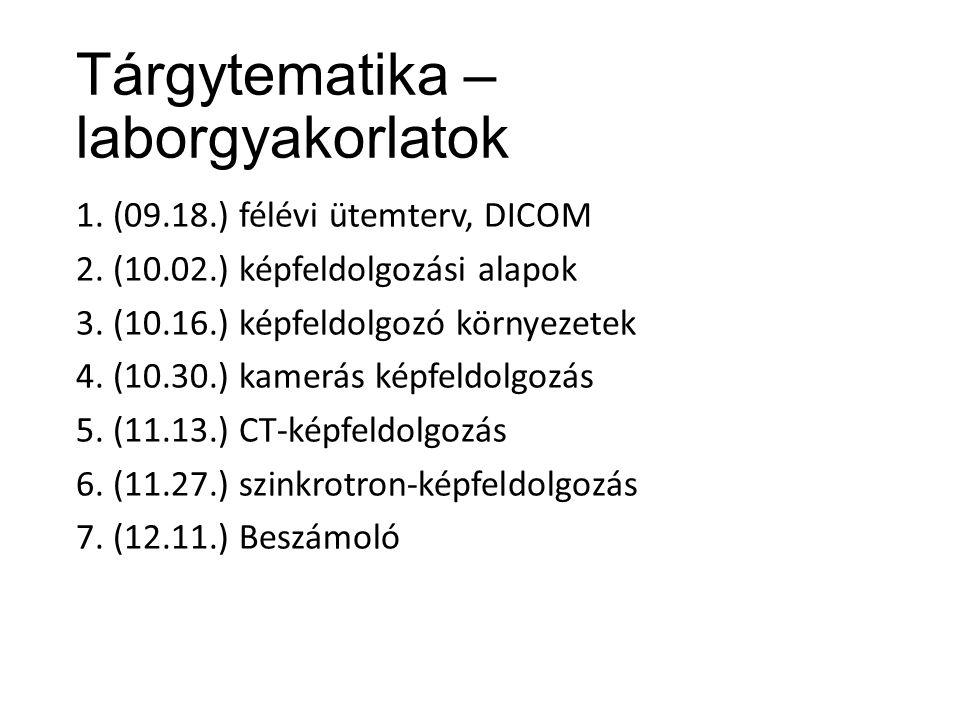 Tárgytematika – laborgyakorlatok 1.(09.18.) félévi ütemterv, DICOM 2.
