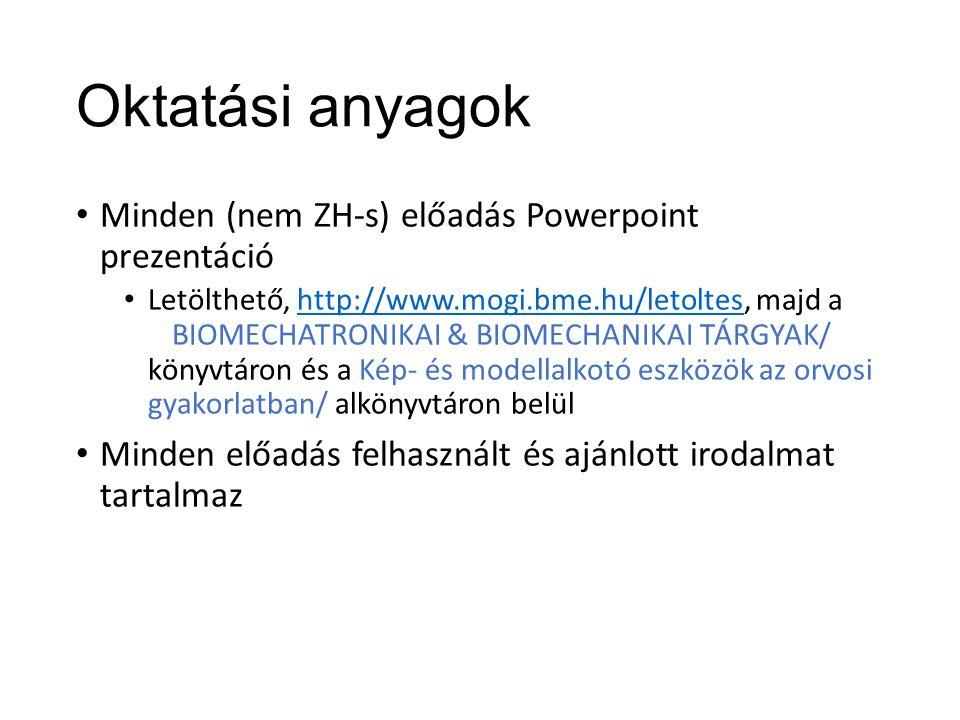 Oktatási anyagok Minden (nem ZH-s) előadás Powerpoint prezentáció Letölthető, http://www.mogi.bme.hu/letoltes, majd a BIOMECHATRONIKAI & BIOMECHANIKAI TÁRGYAK/ könyvtáron és a Kép- és modellalkotó eszközök az orvosi gyakorlatban/ alkönyvtáron belülhttp://www.mogi.bme.hu/letoltes Minden előadás felhasznált és ajánlott irodalmat tartalmaz