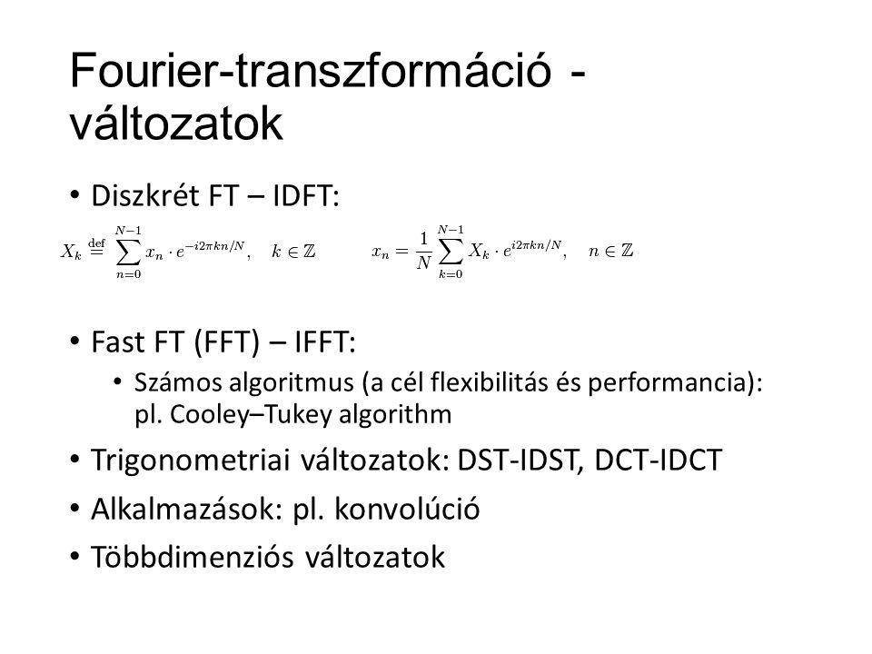 Fourier-transzformáció - változatok Diszkrét FT – IDFT: Fast FT (FFT) – IFFT: Számos algoritmus (a cél flexibilitás és performancia): pl.