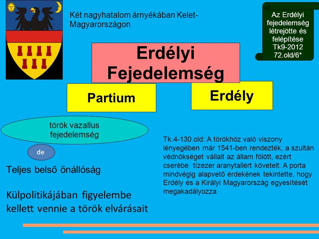 Erdély Partium Teljes belső önállóság török vazallus fejedelemség Két nagyhatalom árnyékában Kelet- Magyarországon Erdélyi Fejedelemség de Külpolitiká