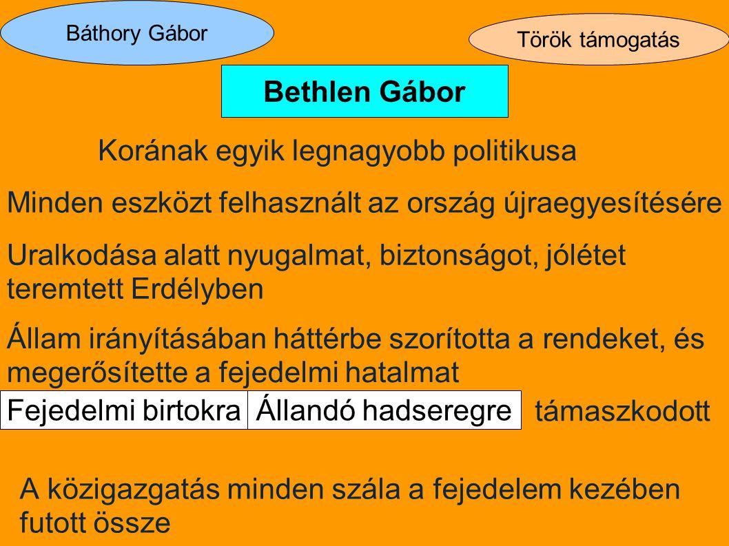 Báthory Gábor Török támogatás Bethlen Gábor Állandó hadseregreFejedelmi birtokra Korának egyik legnagyobb politikusa Minden eszközt felhasznált az ors