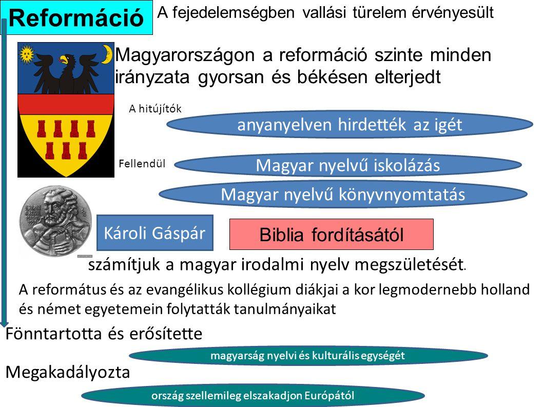 A fejedelemségben vallási türelem érvényesült Magyarországon a reformáció szinte minden irányzata gyorsan és békésen elterjedt Biblia fordításától Ref