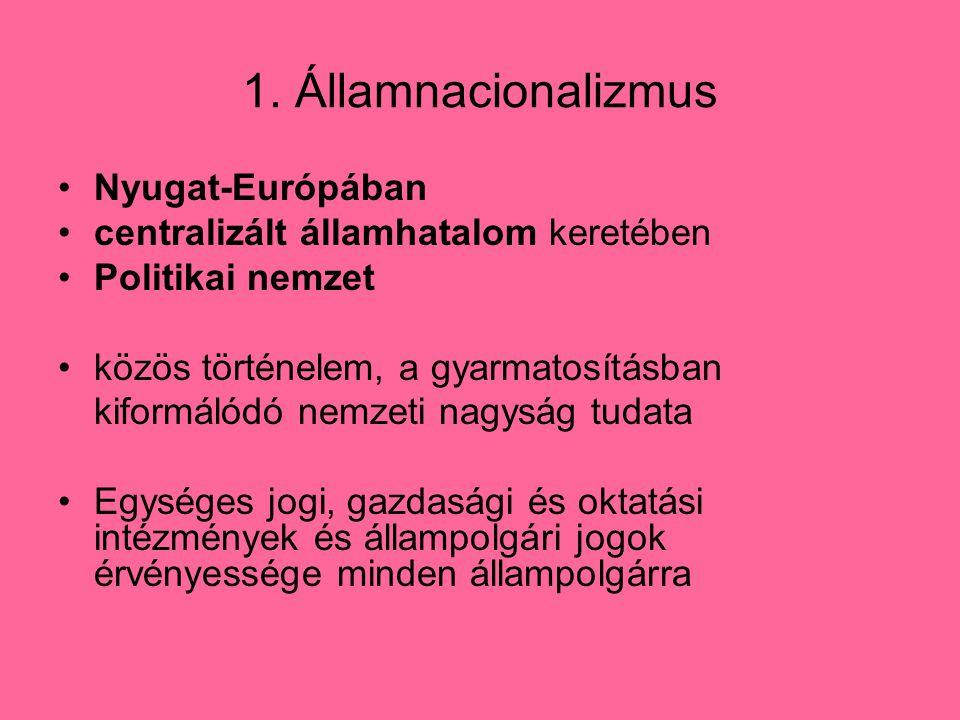 1. Államnacionalizmus Nyugat-Európában centralizált államhatalom keretében Politikai nemzet közös történelem, a gyarmatosításban kiformálódó nemzeti n