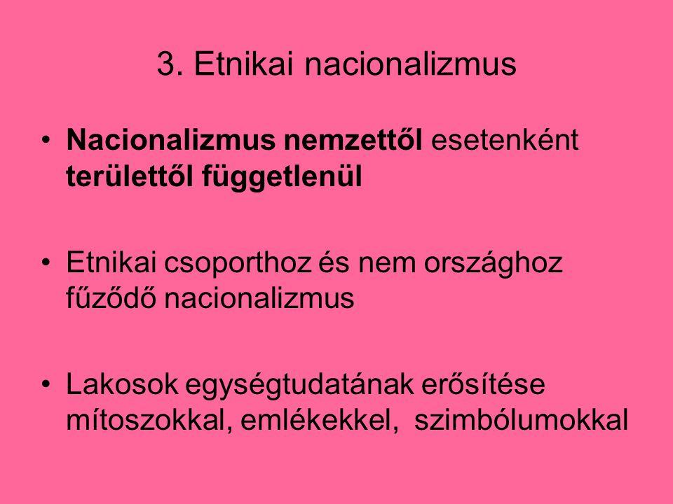 3. Etnikai nacionalizmus Nacionalizmus nemzettől esetenként területtől függetlenül Etnikai csoporthoz és nem országhoz fűződő nacionalizmus Lakosok eg
