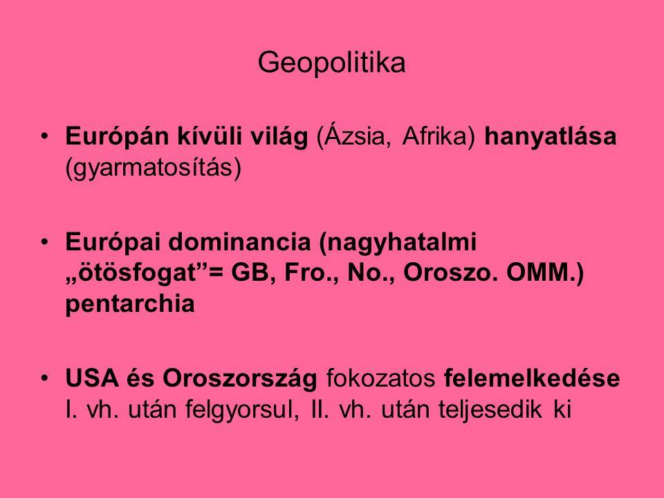 """Geopolitika Európán kívüli világ (Ázsia, Afrika) hanyatlása (gyarmatosítás) Európai dominancia (nagyhatalmi """"ötösfogat = GB, Fro., No., Oroszo."""