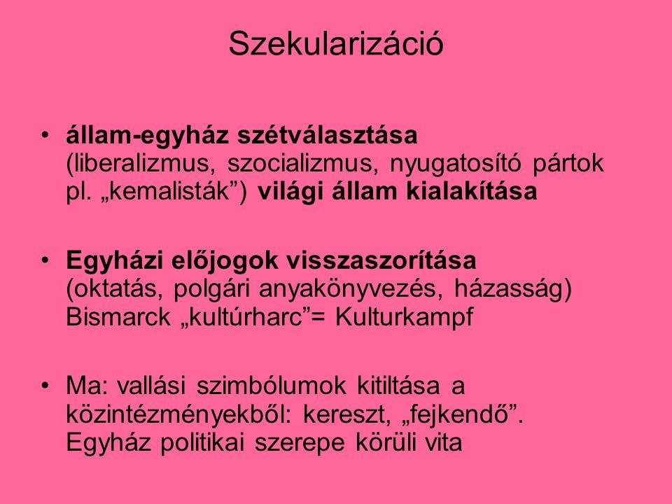 Szekularizáció állam-egyház szétválasztása (liberalizmus, szocializmus, nyugatosító pártok pl.