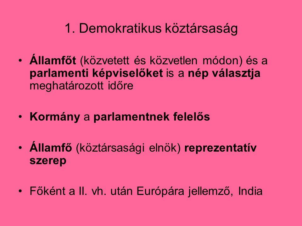 1. Demokratikus köztársaság Államfőt (közvetett és közvetlen módon) és a parlamenti képviselőket is a nép választja meghatározott időre Kormány a parl