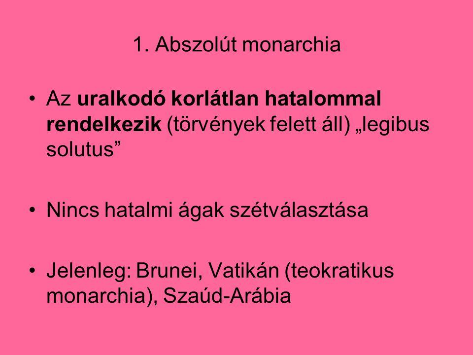 """1. Abszolút monarchia Az uralkodó korlátlan hatalommal rendelkezik (törvények felett áll) """"legibus solutus"""" Nincs hatalmi ágak szétválasztása Jelenleg"""