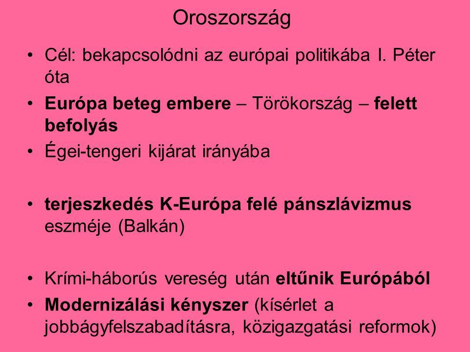 Oroszország Cél: bekapcsolódni az európai politikába I. Péter óta Európa beteg embere – Törökország – felett befolyás Égei-tengeri kijárat irányába te