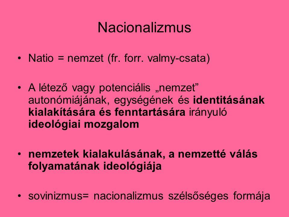 """Nacionalizmus Natio = nemzet (fr. forr. valmy-csata) A létező vagy potenciális """"nemzet"""" autonómiájának, egységének és identitásának kialakítására és f"""