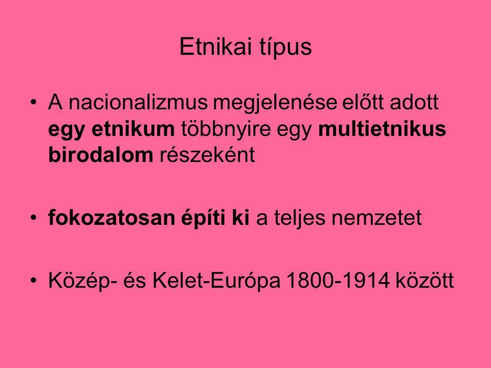 Etnikai típus A nacionalizmus megjelenése előtt adott egy etnikum többnyire egy multietnikus birodalom részeként fokozatosan építi ki a teljes nemzetet Közép- és Kelet-Európa 1800-1914 között