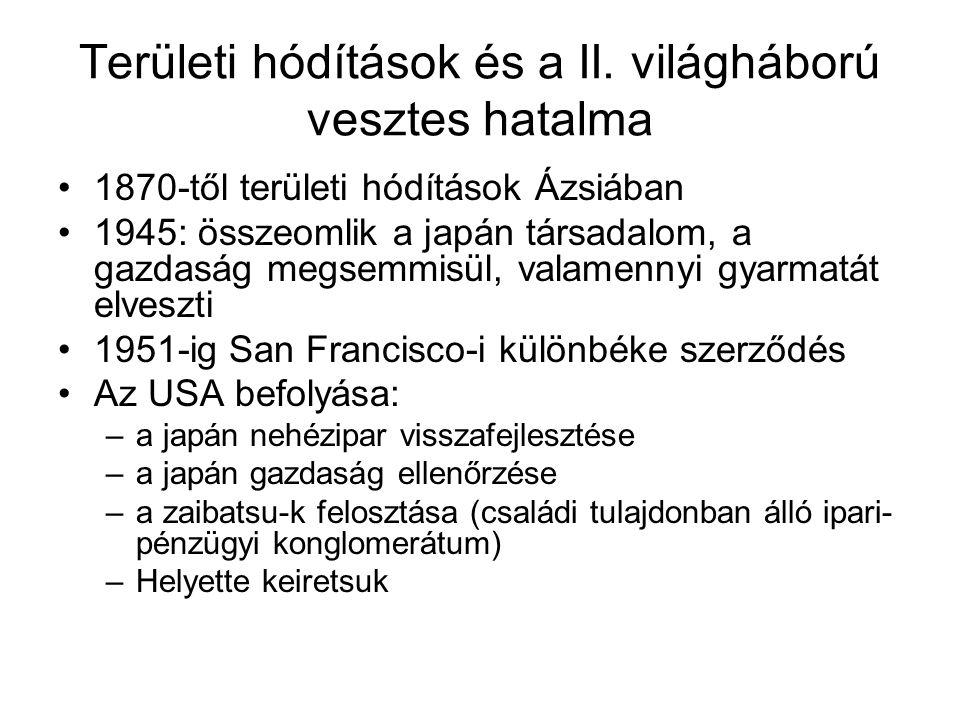 Területi hódítások és a II. világháború vesztes hatalma 1870-től területi hódítások Ázsiában 1945: összeomlik a japán társadalom, a gazdaság megsemmis