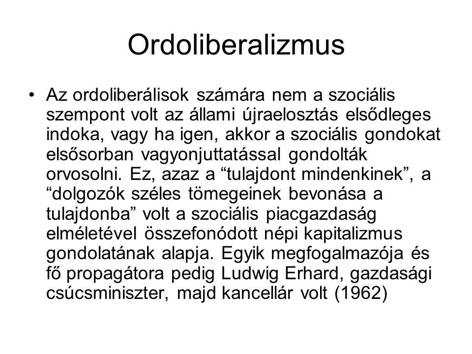Ordoliberalizmus Az ordoliberálisok számára nem a szociális szempont volt az állami újraelosztás elsődleges indoka, vagy ha igen, akkor a szociális go