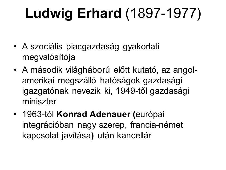 Ludwig Erhard (1897-1977) A szociális piacgazdaság gyakorlati megvalósítója A második világháború előtt kutató, az angol- amerikai megszálló hatóságok