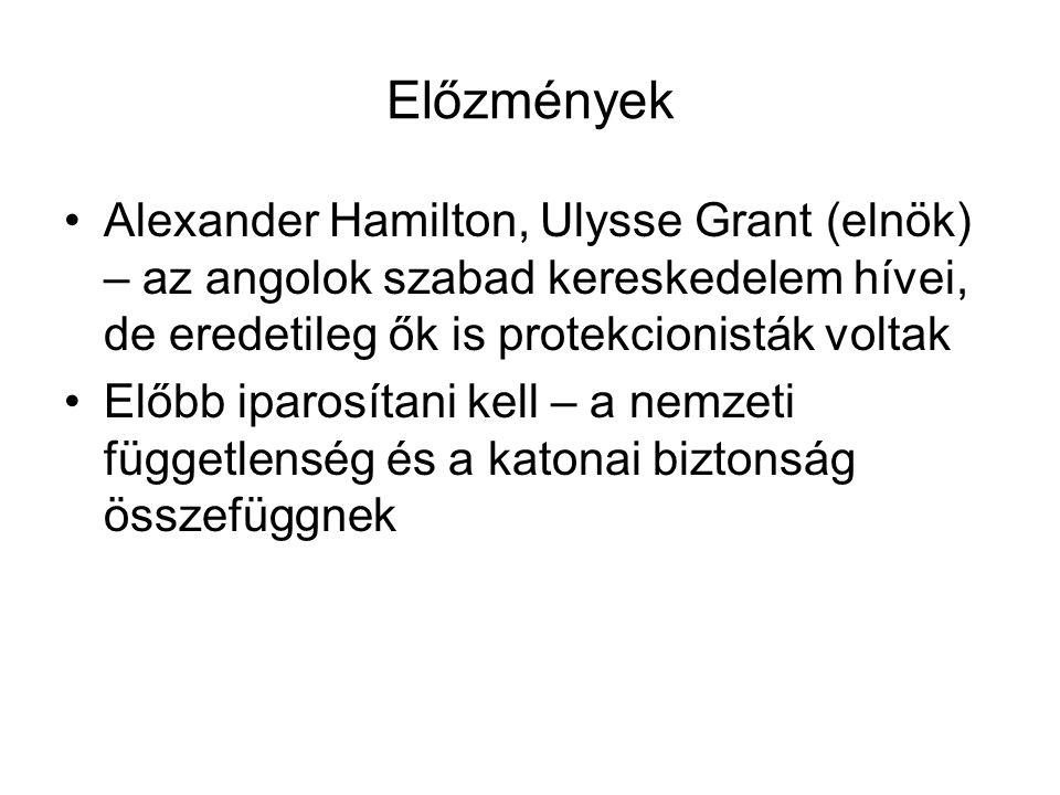 Előzmények Alexander Hamilton, Ulysse Grant (elnök) – az angolok szabad kereskedelem hívei, de eredetileg ők is protekcionisták voltak Előbb iparosíta