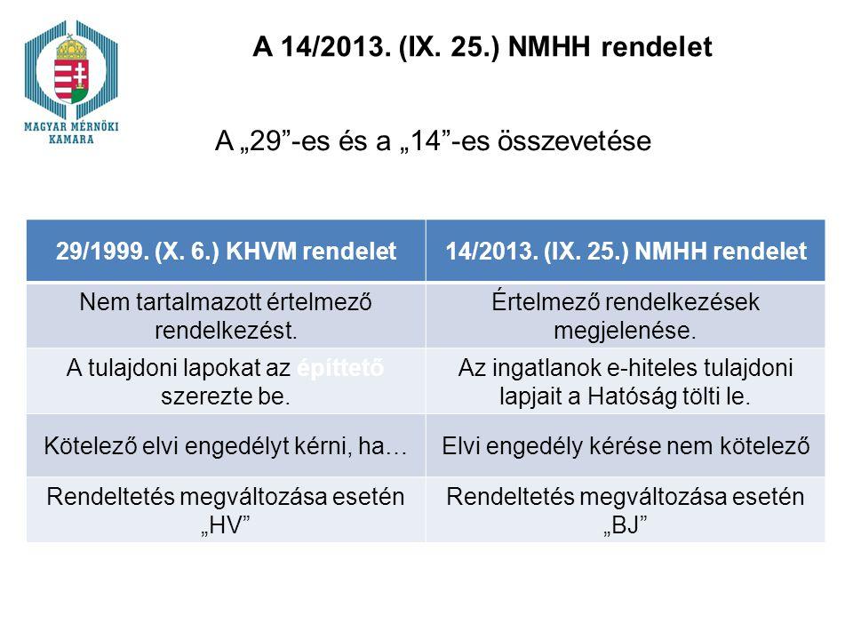 """A 14/2013. (IX. 25.) NMHH rendelet A """"29""""-es és a """"14""""-es összevetése 29/1999. (X. 6.) KHVM rendelet14/2013. (IX. 25.) NMHH rendelet Nem tartalmazott"""