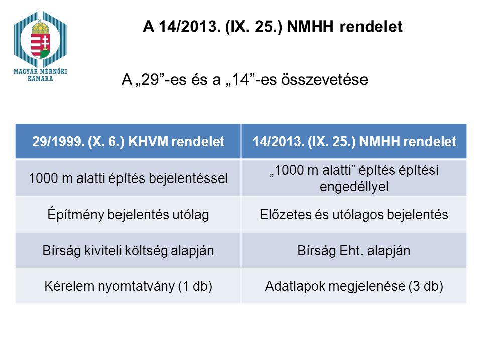 """A 14/2013. (IX. 25.) NMHH rendelet A """"29""""-es és a """"14""""-es összevetése 29/1999. (X. 6.) KHVM rendelet14/2013. (IX. 25.) NMHH rendelet 1000 m alatti épí"""