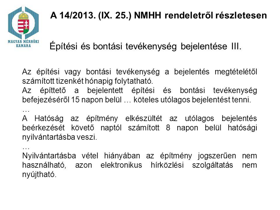Építési és bontási tevékenység bejelentése III.