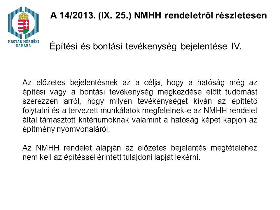 Építési és bontási tevékenység bejelentése IV.
