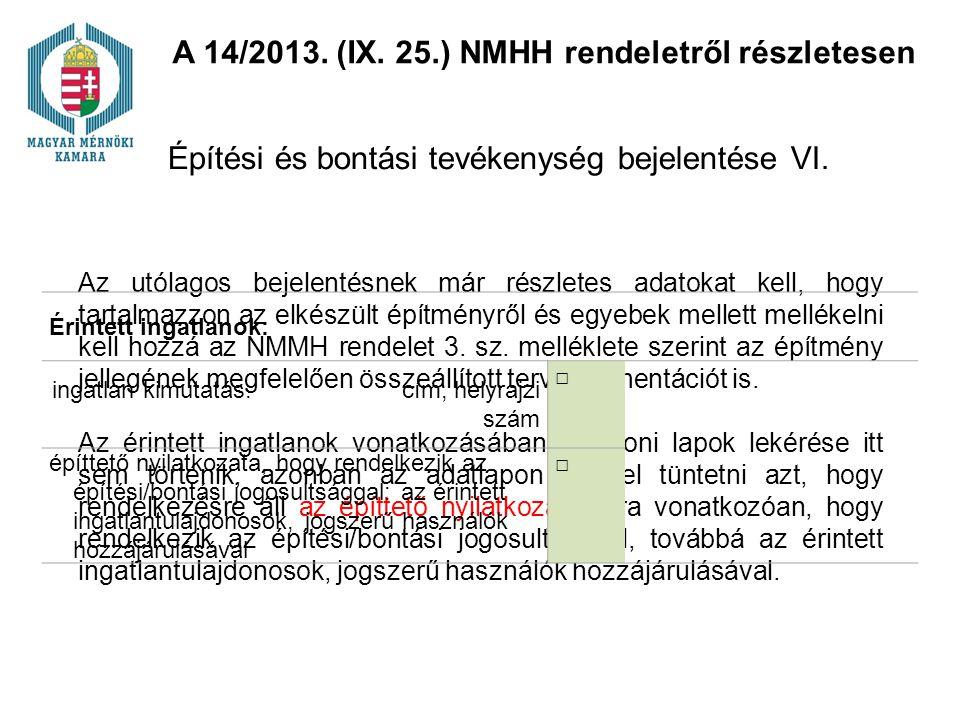 Építési és bontási tevékenység bejelentése VI.