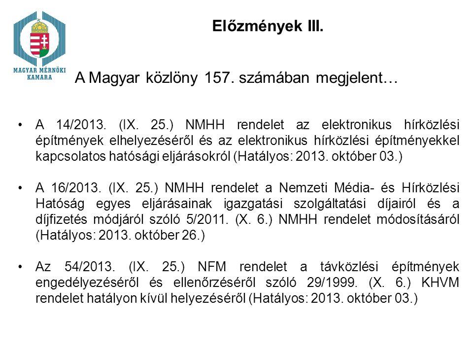 Előzmények III. A Magyar közlöny 157. számában megjelent… A 14/2013. (IX. 25.) NMHH rendelet az elektronikus hírközlési építmények elhelyezéséről és a