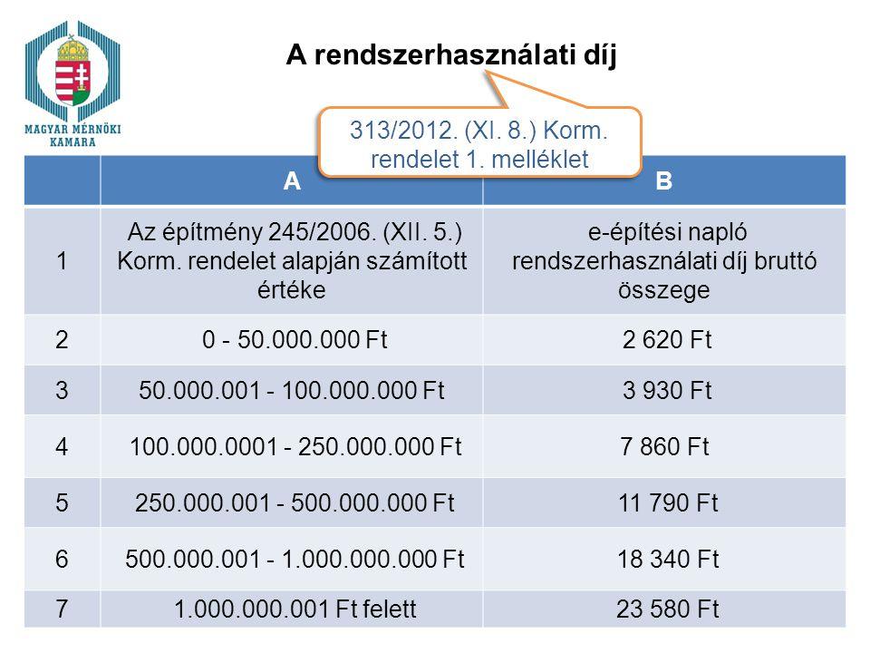 A rendszerhasználati díj AB 1 Az építmény 245/2006. (XII. 5.) Korm. rendelet alapján számított értéke e-építési napló rendszerhasználati díj bruttó ös