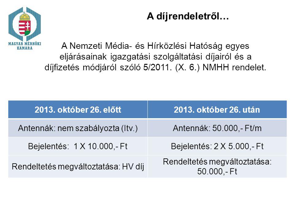 A díjrendeletről… A Nemzeti Média- és Hírközlési Hatóság egyes eljárásainak igazgatási szolgáltatási díjairól és a díjfizetés módjáról szóló 5/2011. (