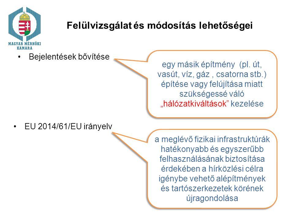 Felülvizsgálat és módosítás lehetőségei Bejelentések bővítése egy másik építmény (pl.