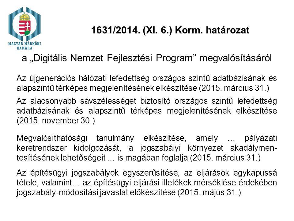 """1631/2014. (XI. 6.) Korm. határozat a """"Digitális Nemzet Fejlesztési Program"""" megvalósításáról Az újgenerációs hálózati lefedettség országos szintű ada"""